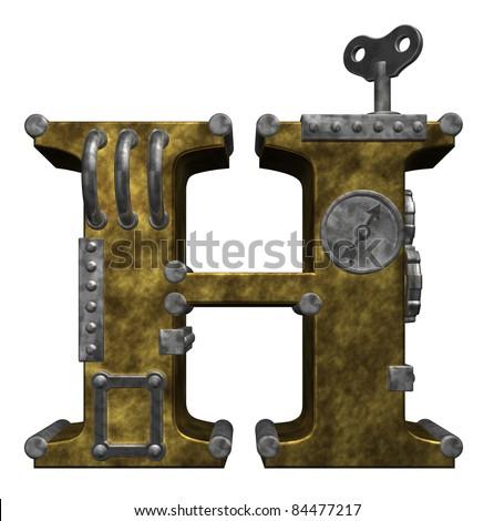steampunk letter h on white background - 3d illustration