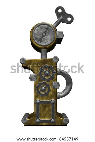 steampunk letter i on white background - 3d illustration
