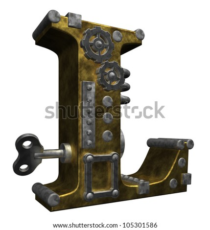 steampunk letter l on white background - 3d illustration