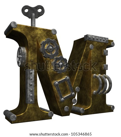 steampunk letter m on white background - 3d illustration