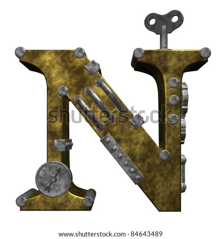 steampunk letter n on white background - 3d illustration