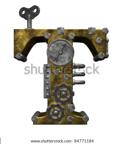steampunk letter t on white background - 3d illustration
