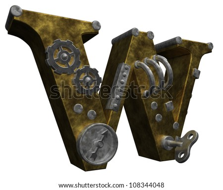 steampunk letter w on white background - 3d illustration