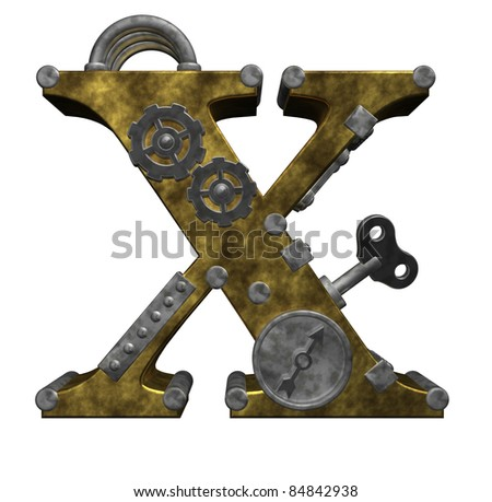 steampunk letter x on white background - 3d illustration
