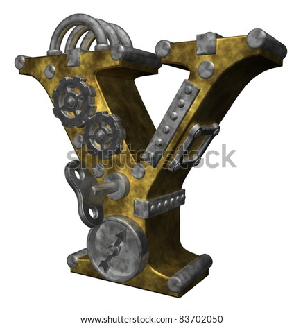 steampunk letter y on white background - 3d illustration