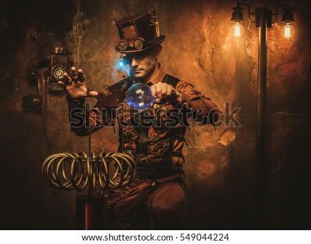 Steampunk man with Tesla coil on vintage steampunk background