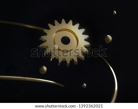 Steampunk mechanism - 3d render illustration. Gears, flying metal spheres and gold rings. Engine Mechanical Parts. Space futuristic retro dark background. Steam punk cogwheels components of clockwork