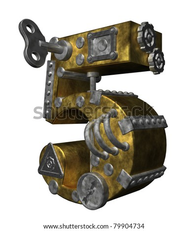 steampunk number five on white background - 3d illustration