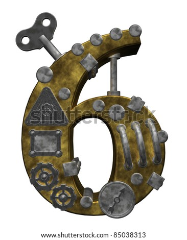 steampunk number six on white background - 3d illustration - stock photo