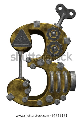 steampunk number three on white background - 3d illustration