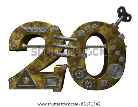 steampunk number twenty on white background - 3d illustration