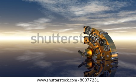 steampunk rss symbol under cloudy blue sky - 3d illustration