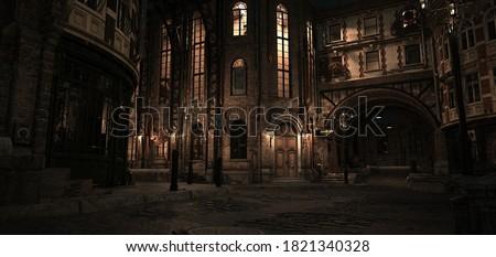 Steampunk scene. Night in the ancient city. Lanterns illuminating old brick buildings. Beautiful night cityscape. Photorealistic 3D illustration.