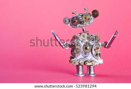 Steampunk service robot concept. Repair man with screw drivers. Aged gears, cog wheel hand clock parts mechanism. Shabby scratch metal texture. Pink background, shallow depth of field copy space