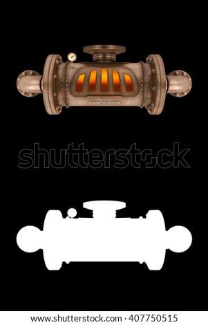 steampunk steam engine on black ...