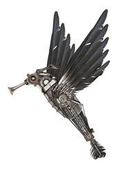Steampunk style colibri. Mechanical animal photo compilation
