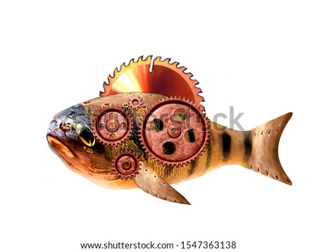 Steampunk style fish. Mechanical animal illustration #1547363138