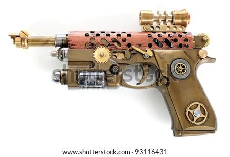 Steampunk style future pistol. Hand/home made gun.