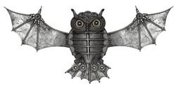 Steampunk style owl.  Mechanical animal photo compilation