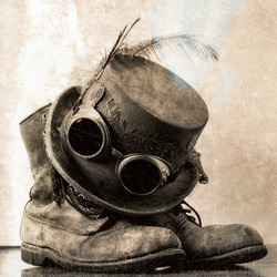 Steampunk Style Top Hat with Goggles and Boots - Hard Days Night