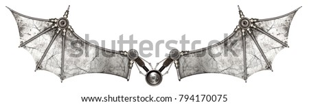Steampunk wings bat isolated. Old auto spare parts car on the white background stock photo