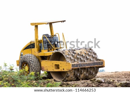 Steamroller  on a working  at Road Construction Site
