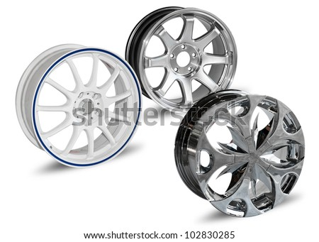 Steel alloy car disks isolated on white background