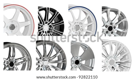steel alloy car disks on white background