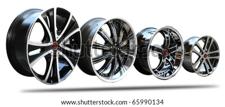 steel alloy car rims on a white background