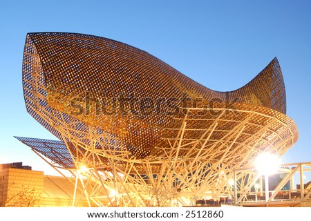 Steel arch at Port Olympic, Barcelona.