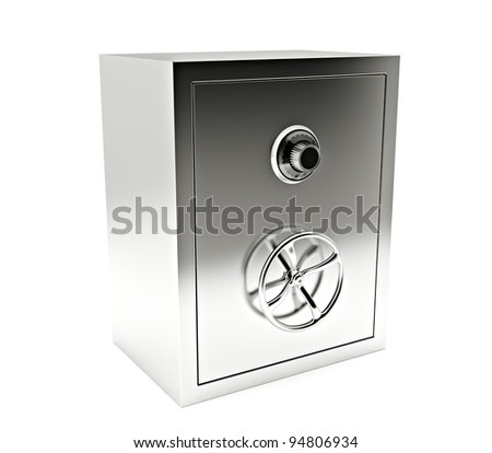 steel bank safe isolated on white