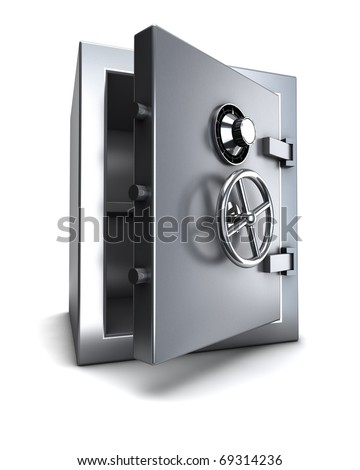 steel bank safe with clipping path