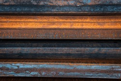 Steel bar for construction.Metal pipe profile. Stock photo of metal beams.