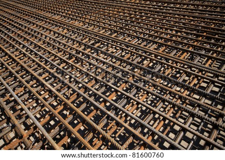 steel bars construction materials, in a construction site, North China. - stock photo