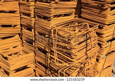 steel bars construction materials stacked together, in a construction site, Luannan County, Hebei Province, China. Photo stock ©