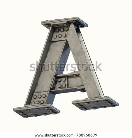 Steel beam font 3d rendering letter A