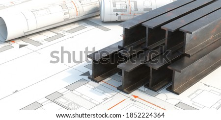 Steel beams production. Metal girders stack on project construction blueprints background, copy space. 3d illustration