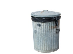 Steel bin isolated on white background with clipping path