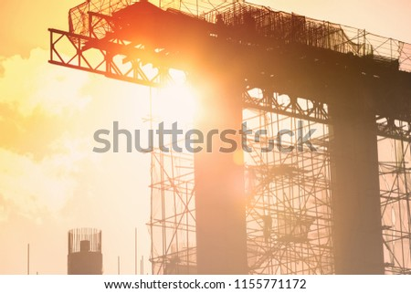 Steel bridge construction with scaffolding and framework