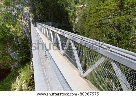 Steel Bridge inside the famous Leutasch Gorge in the German alps, Bavaria