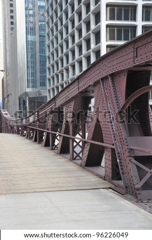 Steel Bridge on Lasalle Street in Chicago Illinois Midwest state in USA