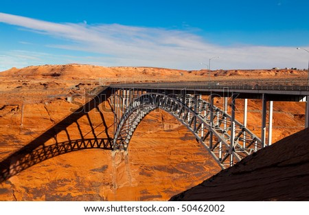 Steel bridge over the Glen Canyon near Page, Arizona