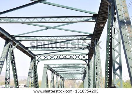 Steel bridge over the river, detailed construction details