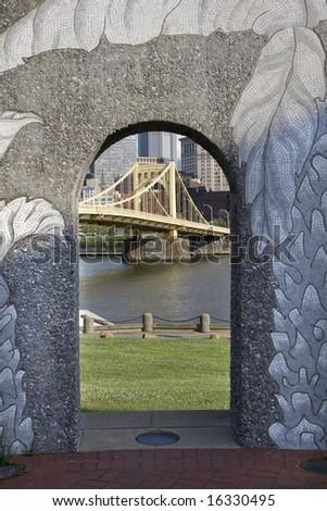 Steel bridge under archway
