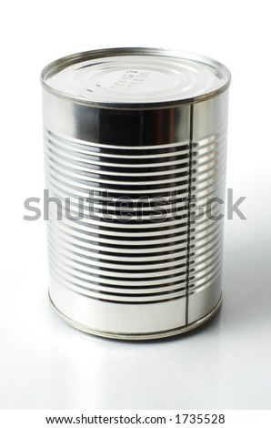 Steel can on white background