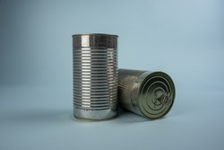 Steel cans with dog food