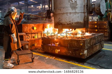 Steel Casting Processes ,Sand Casting and Centrifugal Vertica and horizontal casting ストックフォト ©
