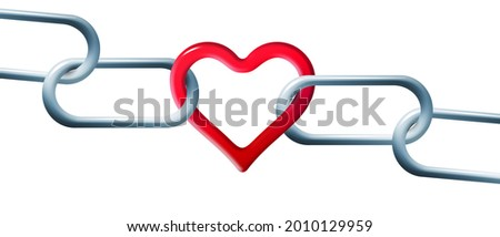 Steel chain is linked together by a red heart shaped link in this 3-d illustration about unbreakable love. Stock photo ©