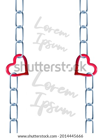 Steel chain is linked together by a red heart shaped link in this 3-d illustration about unbreakable love. Text area, copy space available. Stock photo ©