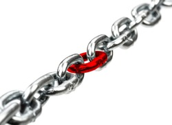 Steel chain with red chain center isolated on  white bacground